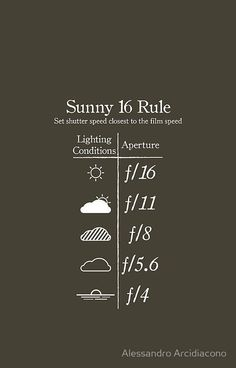 'Sunny 16 Rule – White' T-Shirt by Alessandro Arcidiacono photography tips, photography tricks, photography intro to photography, how to. Dslr Photography Tips, Photography Cheat Sheets, Photography Lessons, Photography Tutorials, Creative Photography, Digital Photography, Photography Composition, Landscape Photography, Photography Contract