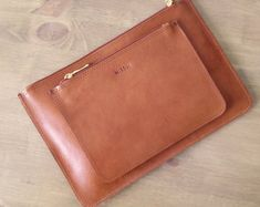 Brown Small Clutch with zipper Leather purse for by MISOUI on Etsy