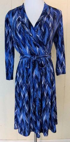Liz Claiborne Blue Chevron Pattern Stretch Dress 3/4 Sleeve S #LizClaiborne #Stretch
