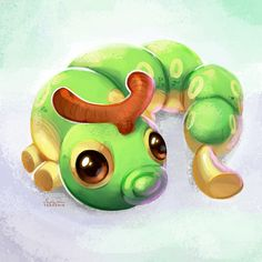 010 - Caterpie by TsaoShin on DeviantArt Geeks, Deviantart Pokemon, Pokemon Pictures, Cartoon Design, Catch Em All, Watercolor Pencils, My Character, Digimon, Pokemon Go