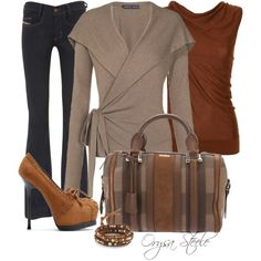 Fall look...love the handbag, sweater, and shoes