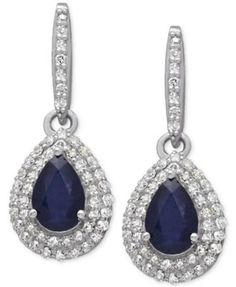 Sapphire (1 ct. t.w.) and Diamond (1/3 ct. t.w.) Drop Earrings in 14k White Gold