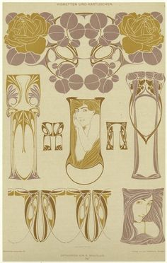 Bijoux modernes (c. 1900) from a series of Art Nouveau designs by Rene Beauclair