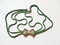 Art Deco Necklace Green Enamel Choker Silver Bow Necklace Art Deco Jewelry Multi Strand Box Chain Vintage 1930s