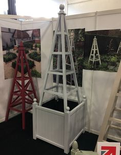 Wooden Garden Obelisk with Versailles Style Wooden Planter on display at The Landscape Show 2019