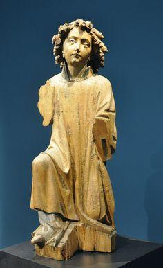 Engel einer Verkündigungsgruppe, Mittelrhein, um 1420,  Liebieghaus, Frankfurt am Main,