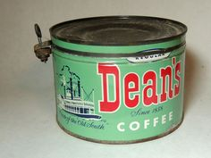 rare vtg Antique DEAN'S Coffee TIN Key-Wind Can Witsell Bro MEMPHIS TN Steamboat #WitsellBrosDeanLillyCo
