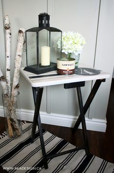 IExcellent idea for side tables. f you've gotta have one, at least make it look presentable! TV Table Makeover