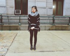 August Moon poncho sweater, Mossimo snood and cardigan, American Eagle jeans, Diva Lounge boots