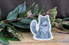 Grey and Whiet Domestic Longhair Die Cut Cat Sticker Cut Cat, Cat Stickers, Glossier Stickers, Long Hair Styles, Grey, Cats, Creative, Handmade Gifts, Vintage