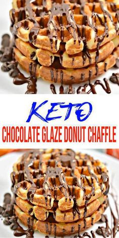 This keto chocolate glaze donut chaffle is my new favorite. Super easy and yummy low carb chaffle recipe that everyone will love. Combine your love for chaffles… Best Waffle Maker, Waffle Maker Recipes, Donut Recipes, Chocolate Glaze, Low Carb Chocolate, Low Carb Desserts, Low Carb Recipes, Baking With Almond Flour, Keto Waffle
