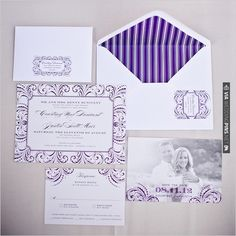 purple wedding invites by Belletristics   VIA #WEDDINGPINS.NET