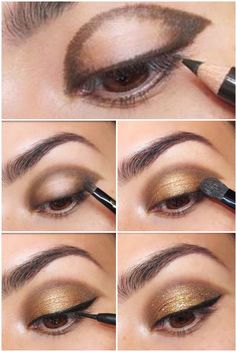 Simple Gold Eye Makeup tutorial. Here is a broken down eye makeup tutorial. I is so beautiful and fun to wear. What a great method to get a lovely eye makeup! Creating this look with Younique Addiction a Eye palettes or Younique Splurge cream shadows or Addiction Eyeshadow Palette https://www.youniqueproducts.com/LauraKinsey/business