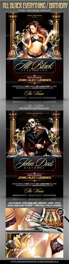 All Black / Birthday Party Flyer Template  #GraphicRiver         Classy All Black