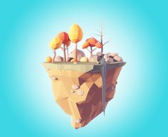 ArtStation - Low poly flying island, Filip Pavelko