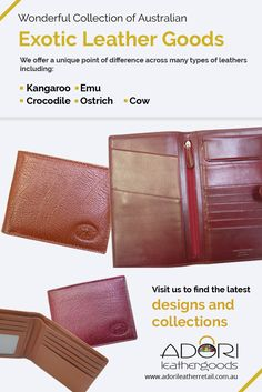 We offer a unique point of difference across many types of #leathers including:  -	Kangaroo -	Emu -	Crocodile -	Ostrich -	Cow
