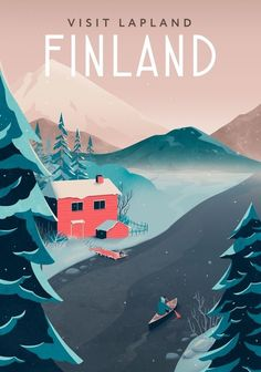 Finland travel poster, an art print by Anna Kuptsova <br> This is a gallery-quality giclée art print on cotton rag archival paper, printed with archival inks. Poster Art, Art Deco Posters, Poster Prints, Art Prints, Finland Travel, Lapland Finland, Guache, Beach Trip, Hawaii Beach