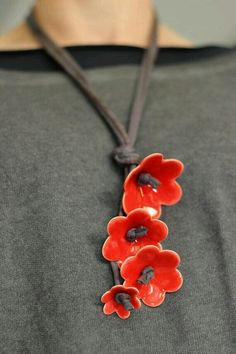 - Nice and funky! Red Ceramic Flower Necklace by Tzadsheni Beautiful and Funky! Red Ceramic Flower Necklace by Tzadsheni Beautiful and Funky! Red Ceramic Flower Necklace by Tzadsheni Ceramic Jewelry, Enamel Jewelry, Ceramic Beads, Ceramic Clay, Clay Beads, Polymer Clay Jewelry, Ceramic Pottery, Ceramic Necklace, Porcelain Jewelry