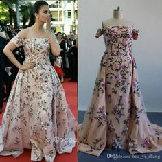 Myriam Fares Aishwarya Rai Celebrity Dresses Cannes Film Festival 2016 Real Images Embroidery Beaded Evening Gowns with Detachable Overskirt Myriam Fares Celebrity Party Gown Embroidery Online with 350.0/Piece on Hua_yi_zhang's Store   DHgate.com
