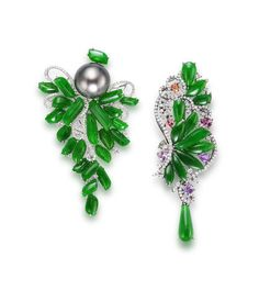 A cultured pearl, jadeite and diamond brooch and a jadeite, diamond and gem-set brooch (2)