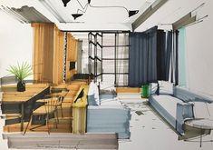 이미지: 사람들이 앉아 있는 중, 실내 Drawing Interior, Interior Design Sketches, Interior Paint, House Design Drawing, Interior Architecture, Sketch Architecture, Perspective Sketch, Portfolio Layout, Paper Houses