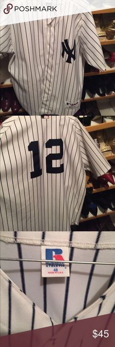 Ny yankee jersey🎉🎊TODAY SALE🎊🎊 Striped jersey 🎊🎊🎊FREE GIFT 🎁 With purchase 😊👍🏽 russell Shirts Casual Button Down Shirts