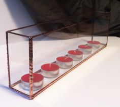 Long glass candle holder, rectangle tealight holder, wedding decoration new home, glass display box, glass display case
