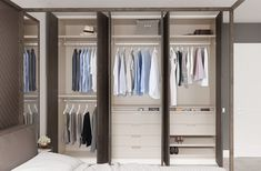 Internal layout of the wardrobe with top thin drawers and small compartments for ties, belts etc. Sliding Wardrobe, Walk In Wardrobe, Wardrobe Design, Veneer Door, Wood Veneer, Shoe Rack Closet, Light Gray Paint, Wardrobe Organisation, Fitted Wardrobes
