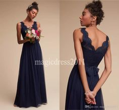 2016 Modest Navy Blue Lace Bridesmaid Dresses Floor Length A-Line V-Neck Open Back Boho Country Wedding Party Maid of Honor Gowns Forma Cheap Chiffon Bridesmaid Dress Sage Boho Bridesmaid Dress Maid of Honor Gowns Online with $92.8/Piece on Magicdress2011's Store | DHgate.com