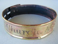 "19th century Copper & Brass Dog Collar, inscribed "" R d. Church. Albourn Wilts""."
