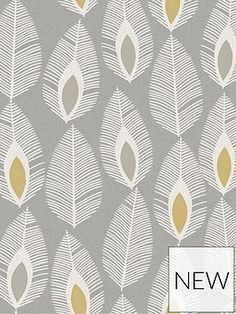 ARTHOUSE Glam Feather Grey Wallpaper | very.co.uk