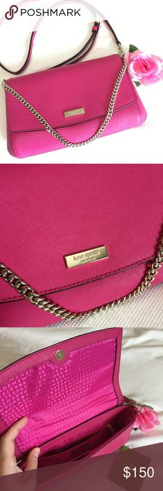 Kate Spade - Greer Laurel Way Crossbody Brand New Without Tags ♠️ Kate Spade ♠️ Crossbody. Beautiful hot pink color with gold chain handle and a removable crossbody strap that is adjustable 💕 No stains, no marks, no scratches 💕 Price is definitely negotiable and I'm always open to all offers. Can be bundle with anything else for a discount! kate spade Bags