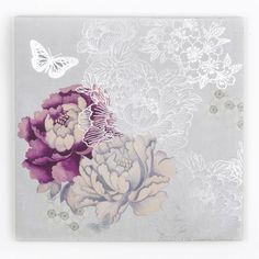 This beautifully detailed Monsoon wall art design uses a natural source of inspiration and experiments with texture to create a unique piece in our collection. The central floral motif of the design is coloured in both white and purple tones while shading is also used to add a sense of depth against a silver background. Delicate butterflies also decorate a piece which encapsulates the beauty and artistry of the Monsoon brand.Size: 60 x 60 cm