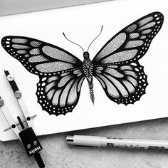 Not all art is detailed, but these detailed drawings are more than most. Pavneet Sembhi is the creator of these detailed drawings. Dotted Drawings, Ink Drawings, Drawing Sketches, Drawing Ideas, Borboleta Tattoo, Stippling Art, Butterfly Drawing, Butterfly Mandala, Paper Drawing