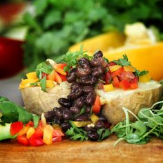 How many ways can you top a baked potato? We have a few ideas for you!:)   You can find this recipe and 29 other plant-based, gluten-free recipes for FREE on: ameatfreemonth.org, where you can sign up to receive a free recipe delivered to your email each day for 30 days! 100% free. Each email is filled with tips, tricks and information about healthy food! www.ameatfreemonth.org #meatfreemonth #meatfree #vegan #plantbased #healthy #glutenfree #recipe