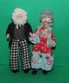 Vintage Dolls House Grecon Dolls Melon Foot Grandad Doll And Grandma Doll
