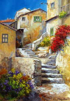 Old Town Italy ~ Francesco Mangialardi Watercolor Landscape, Landscape Art, Landscape Paintings, Watercolor Paintings, Art Paintings, Watercolors, Pictures To Paint, Art Pictures, Old Town Italy