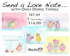 Original Watercolor Love Owls Cards for you!  This series of love cards is fit for any situation. Send to your friend, loved one, special