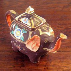 Vintage Japanese Moriage Elephant Teapot, Circa 1950