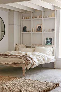 Slide View: 1: Bohemian White Wood Platform Bed