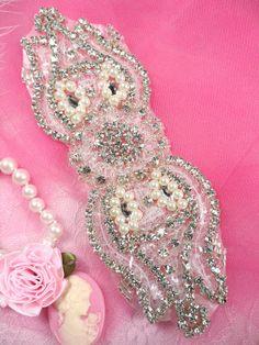 XR81 Silver Pearl Sequin Beaded Crystal Rhinestone by gloryshouse, $13.99