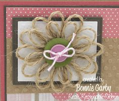 Bonnie from Really Reasonable Ribbon here today with a tutorial for an easy Jute Loopy Flower embellishment. Twine Flowers, Diy Flowers, Fabric Flowers, Paper Flowers, Flower Diy, Ribbon Flower, Twine Crafts, Yarn Crafts, Diy Lace Doily Bowl