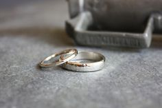 recycled 14K white gold hammered wedding set. $650.00, via Etsy.