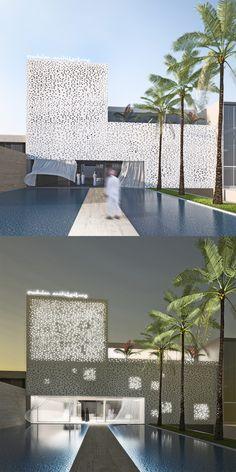 #showroom #riyadh #architecture #perforated #facade Riyadh, Showroom, Facade, Studio, Projects, Design, Atelier, Facades