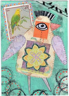 Gelli plate printed background, cut out collaged pieces from an idea in a book Leslie had (and I forgot to write down the name or author), postage stamp, washi tape, pens, circle inked from (you will never guess this....) a piece of baby bottle nipple that Leslie had, cupcake wrapper for crest, and other miscellaneous paint/inks.