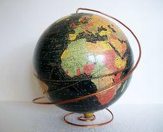 Vintage Pre WWII Globe  1936  Early Black Oceans by vintagecals, $125.00
