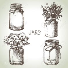 Rustic, mason and canning jars hand drawn set. Sketch design elements. Vector illustrations Stock Vector - 30493216