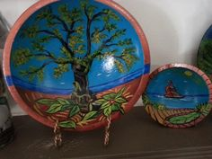 Hand painted wooden bowl by Suzanne Amodio