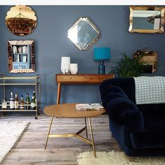 Erica Davies's living room - walls in Little Greene Juniper Ash, furniture West Elm/ Loaf. Home Office Design, Home Interior Design, Piano Room, Moving House, New Living Room, Living Room Inspiration, Bedroom Colors, West Elm, Table And Chairs
