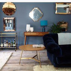 Erica Davies's living room - walls in Little Greene Juniper Ash, furniture West Elm/ Loaf. Photo Erica Davies (theedited)
